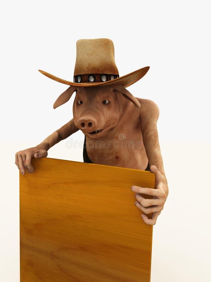 Cerdo en el sombrero de vaquero que lleva a cabo a una tarjeta stock de ilustración