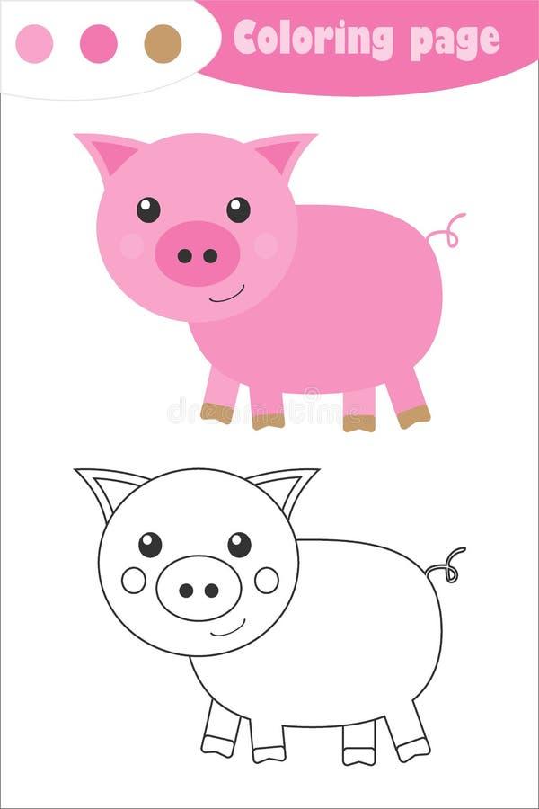 Cerdo en estilo caricaturista, página de coloración, juego de papel para la educación primaveral para el desarrollo de los niñ stock de ilustración