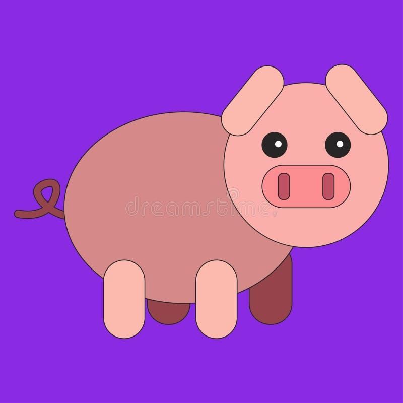 Cerdo en estilo plano de la historieta stock de ilustración