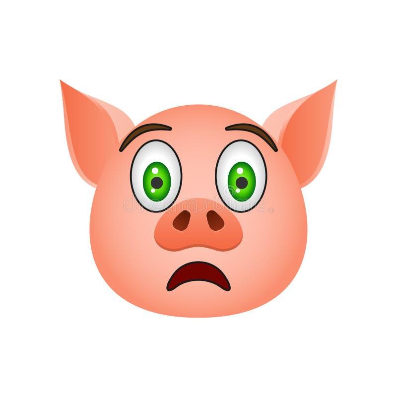 Cerdo en icono asustado del emoji Elemento del icono del símbolo del Año Nuevo para los apps móviles del concepto y de la web Cer libre illustration