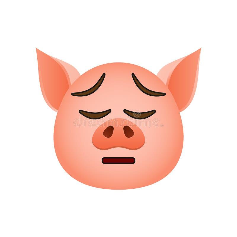 Cerdo en icono cansado del emoji Elemento del icono del símbolo del Año Nuevo para los apps móviles del concepto y de la web El c libre illustration
