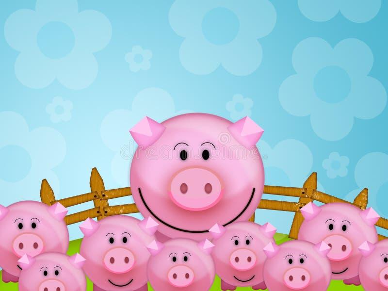 Cerdo en la granja ilustración del vector