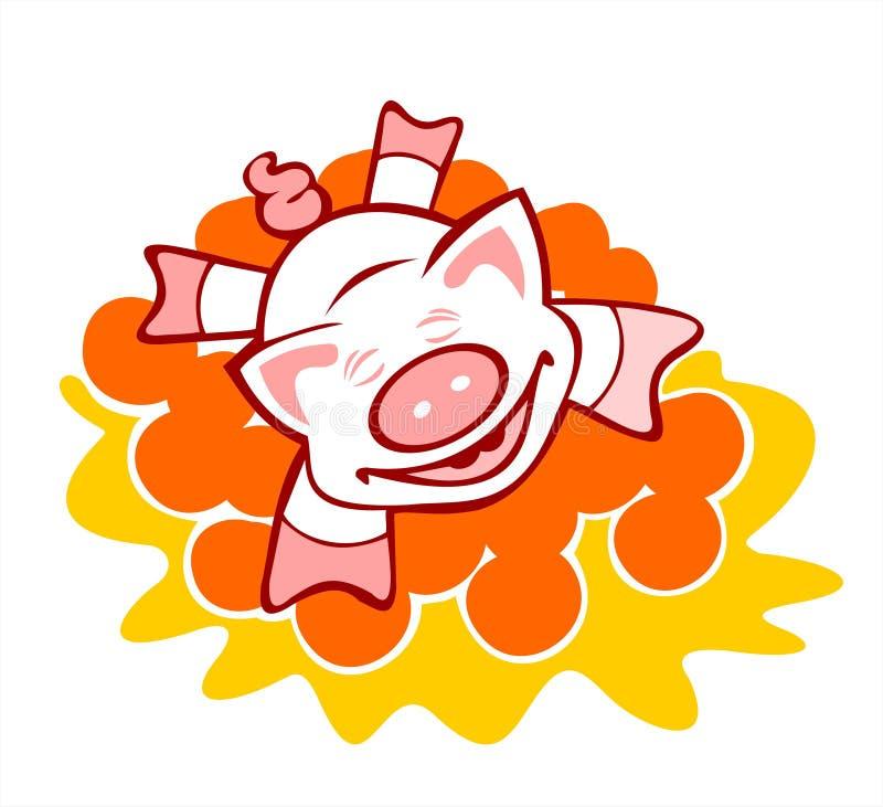 Cerdo en naranjas ilustración del vector