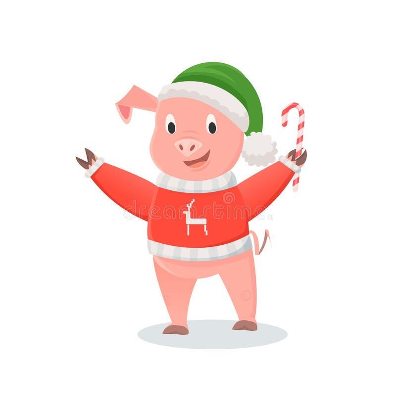 Cerdo en sombrero y suéter hecho punto con Cane Candy ilustración del vector