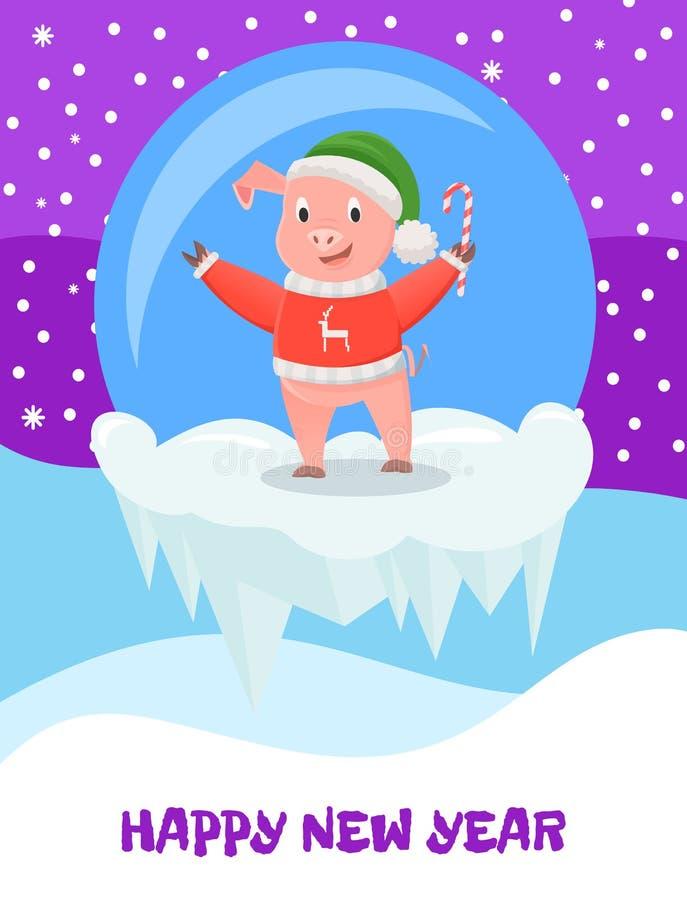 Cerdo en sombrero y suéter hecho punto con Cane Candy libre illustration