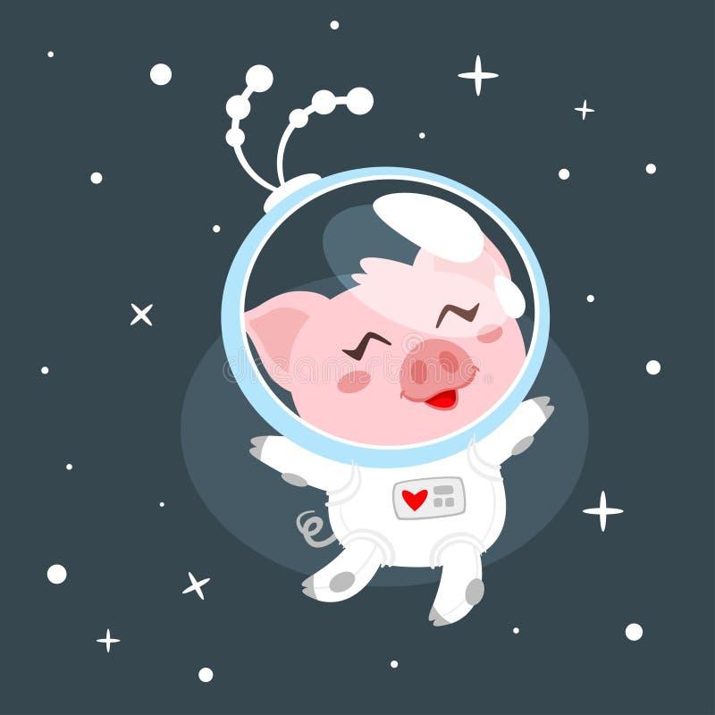 Cerdo en traje de espacio ilustración del vector
