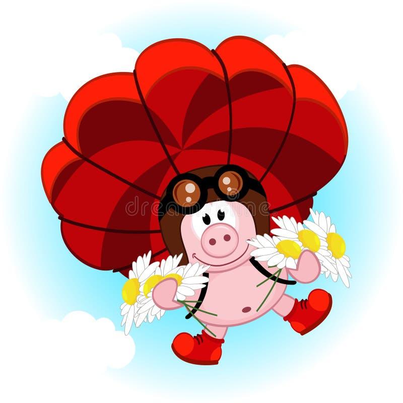 Cerdo en un paracaídas con las margaritas stock de ilustración