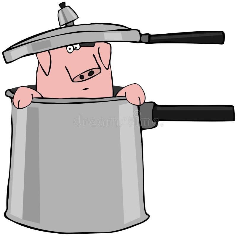 Cerdo en una olla de presión ilustración del vector