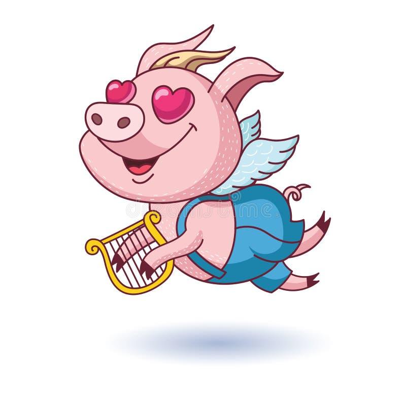 Cerdo feliz con las alas y la arpa El cerdo en amor stock de ilustración