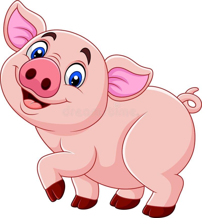 Cerdo feliz de la historieta aislado en el fondo blanco ilustración del vector