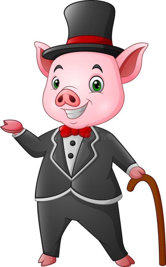 Cerdo feliz de la historieta vestido para arriba en smoking negro con un bastón stock de ilustración