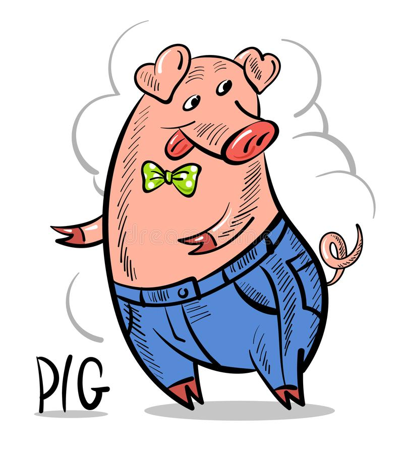 Cerdo feliz divertido vestido para arriba en una corbata de lazo y vaqueros Historieta cómica ilustración del vector