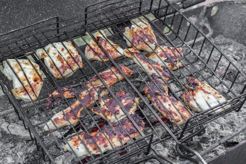 Cerdo frito, carne de vaca, carne del pollo en una barbacoa imágenes de archivo libres de regalías
