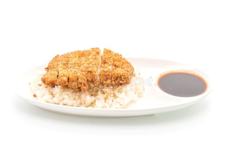 cerdo frito en el arroz rematado (tonkatsu) fotografía de archivo libre de regalías
