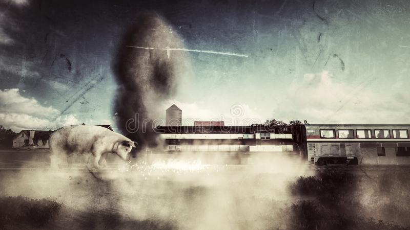 Cerdo gigante que rompe en un tren libre illustration