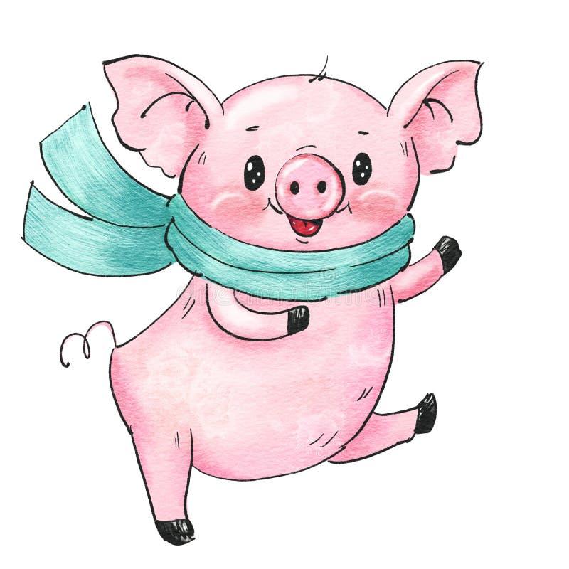 Cerdo lindo de la historieta libre illustration