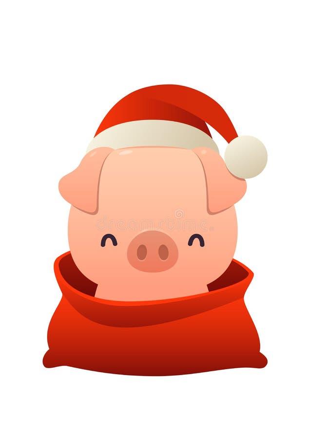 Cerdo lindo de la historieta en el sombrero de Santa Claus y bolso rojo con el vector del humor de la Feliz Navidad aislada y de  stock de ilustración