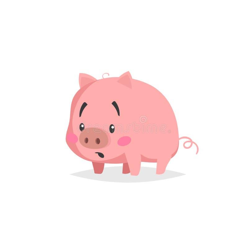 Cerdo lindo de la historieta Pequeño cochinillo confuso o sorprendido con la cara divertida Carácter del animal doméstico Ilustra stock de ilustración