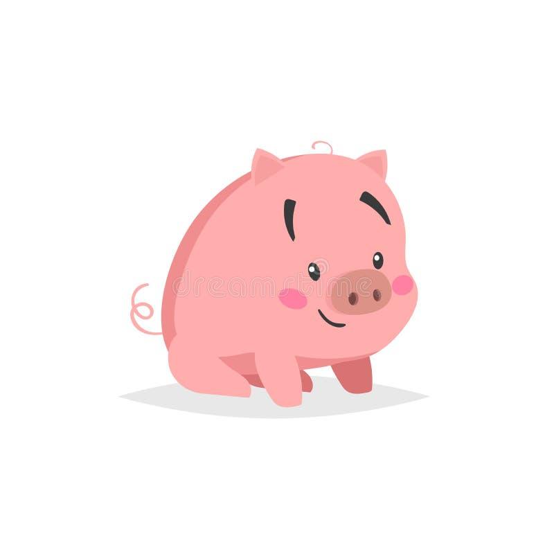 Cerdo lindo de la historieta Sitiing y pequeño cochinillo sonriente con la cara divertida Carácter del animal doméstico Ilustraci stock de ilustración