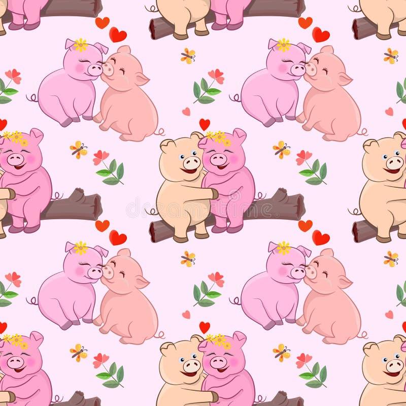 Cerdo lindo de los pares con forma del corazón y el modelo de flores stock de ilustración