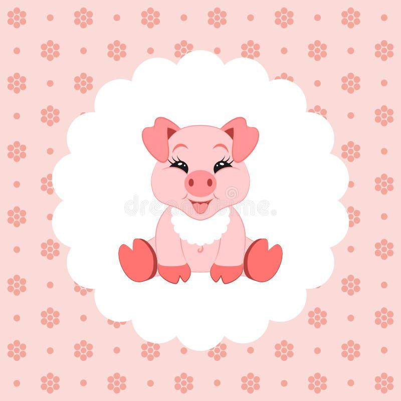 Cerdo lindo del bebé en babero icono Ilustración del vector Diseño plano libre illustration