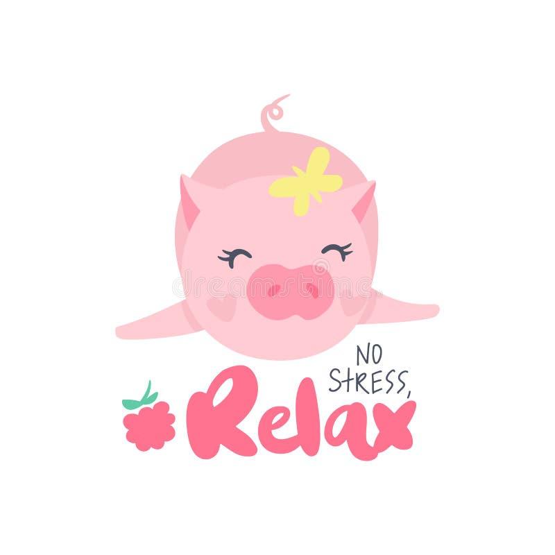 Cerdo lindo del vector Ejemplo de la historieta con el animal divertido stock de ilustración