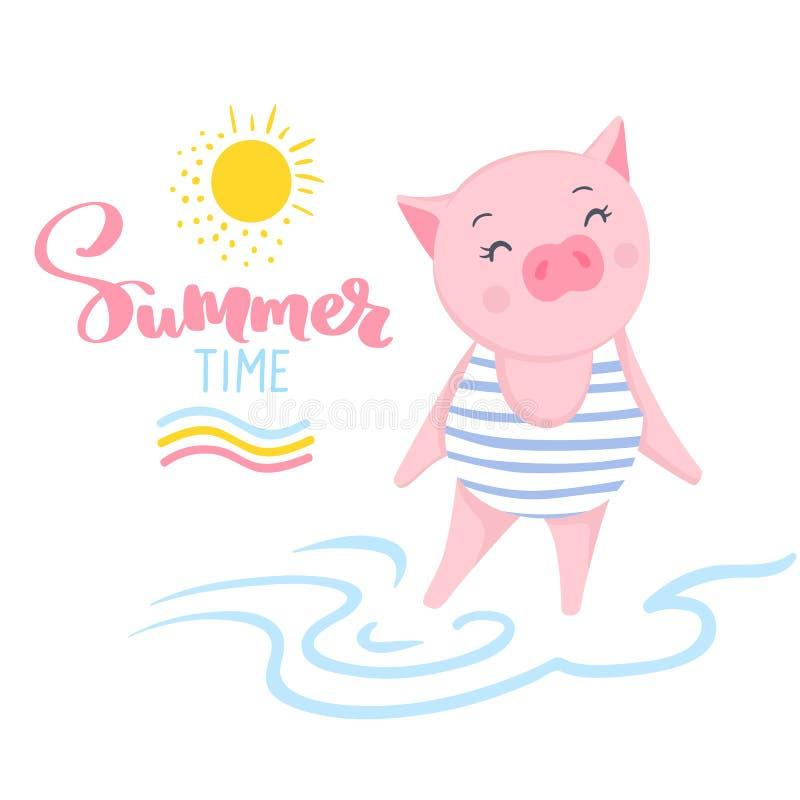 Cerdo lindo del vector Ejemplo de la historieta con el animal divertido ilustración del vector