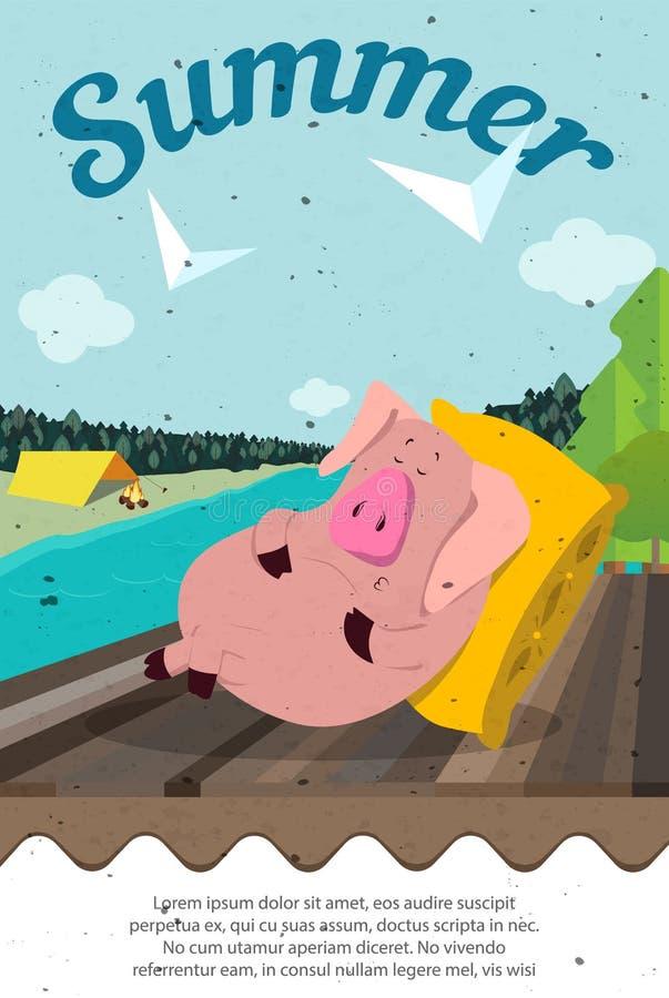 Cerdo lindo del verano 2019 Feliz Año Nuevo Símbolo chino de los 2019 años Carte cadeaux festivo excelente Ejemplo del vector en  ilustración del vector