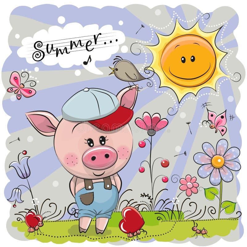 Cerdo lindo en el prado con las flores stock de ilustración