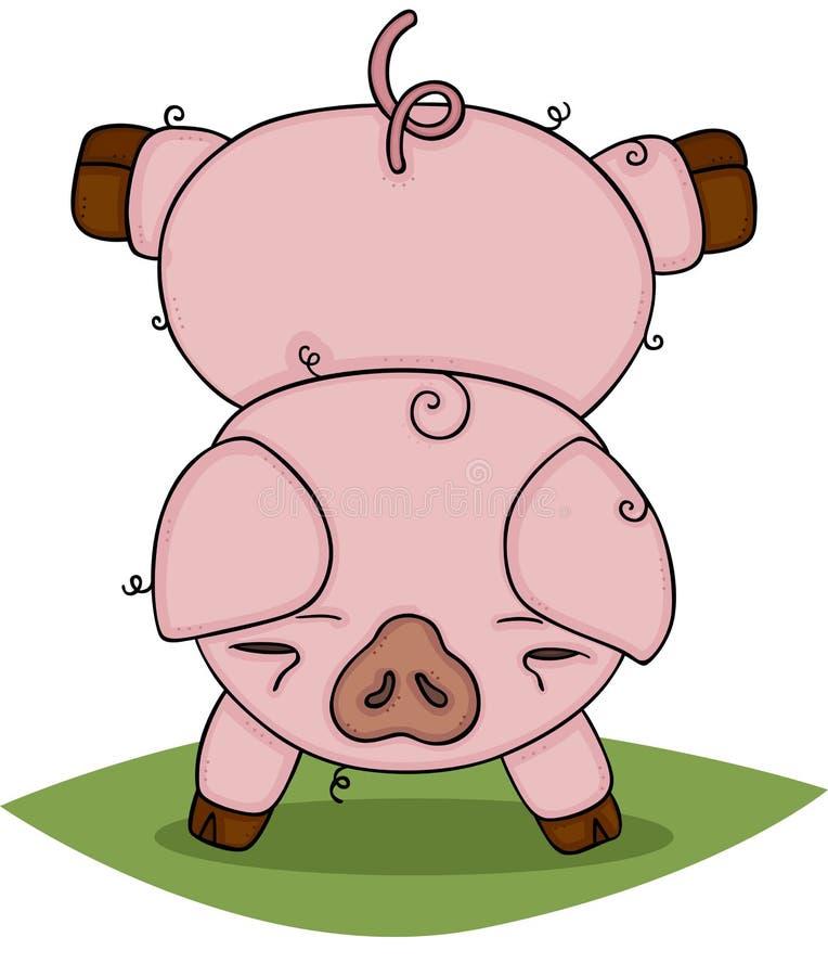 Cerdo lindo que hace la posición del pino ilustración del vector