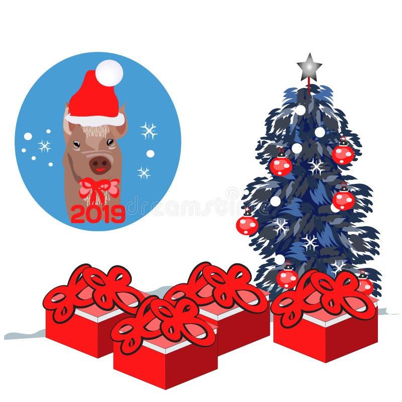 Cerdo lindo santa con las actuales cajas de regalo, árbol del ejemplo plano de la Feliz Navidad del vector de abeto adornado aisl stock de ilustración