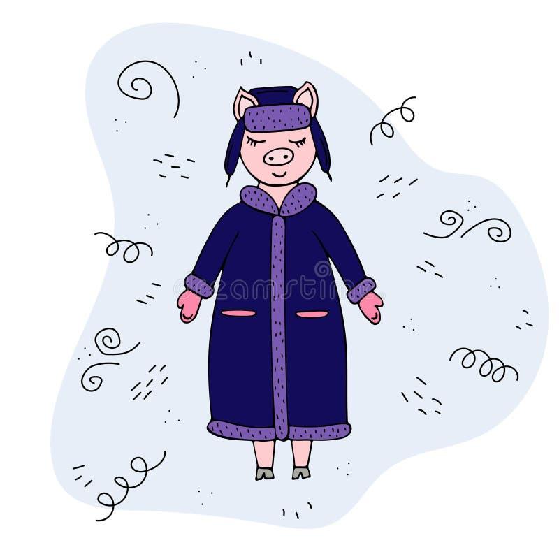 Cerdo a mano del vector en un abrigo de invierno y un sombrero doodles ilustración del vector