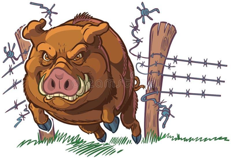 Cerdo o jabalí que se estrella a través de la cerca Vector Cartoon ilustración del vector