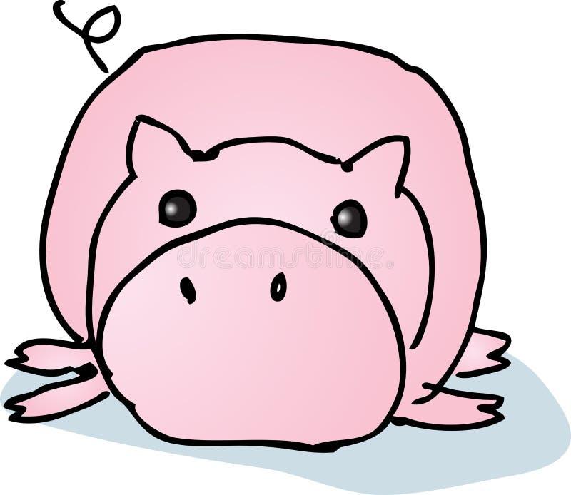 Cerdo perezoso de la historieta stock de ilustración