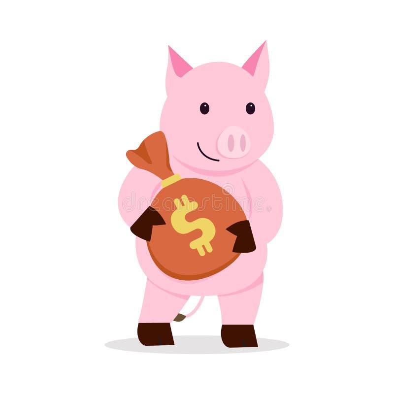 Cerdo plano que lleva a cabo diseño de la historieta del bolso del dinero con el fondo blanco del isolatd Ilustraci?n del vector  stock de ilustración