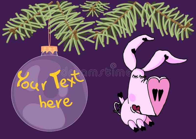 Cerdo precioso de la muchacha debajo del árbol de navidad y del juguete grande colgante de la Navidad con el espacio de la copia libre illustration