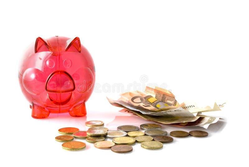 Cerdo rojo para el dinero del ahorro imagenes de archivo