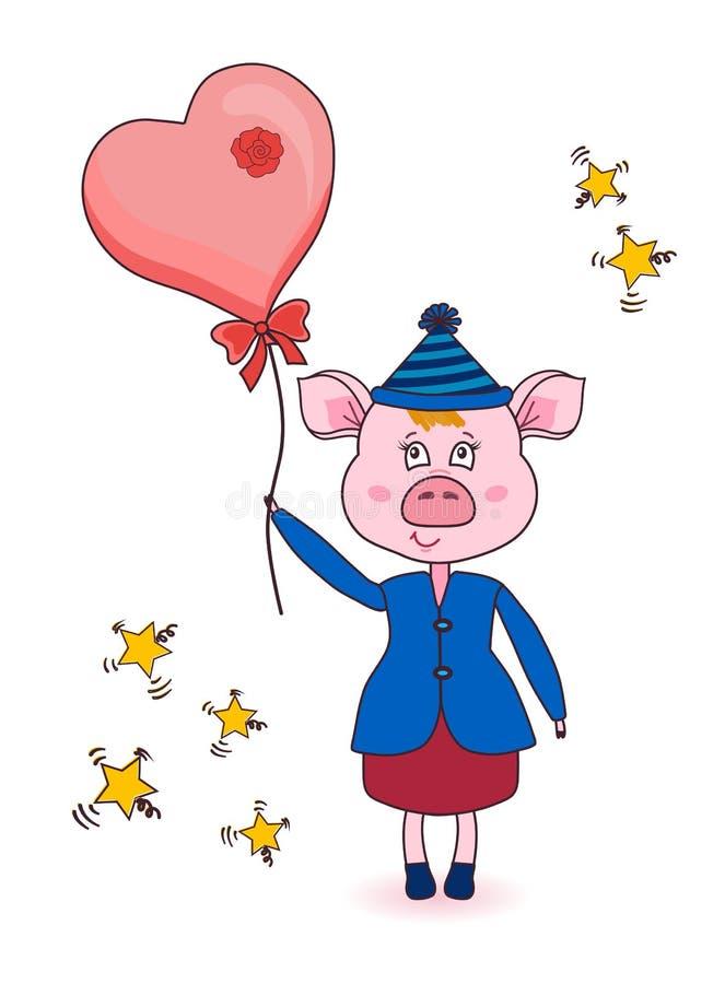 Cerdo rosado de la historieta en ropa del invierno Carácter lindo del Año Nuevo Animal con un globo I ilustración del vector