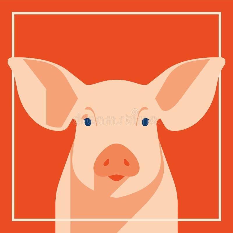 Cerdo rosado en estilo plano, un símbolo de los 2019 Años Nuevos chinos ilustración del vector