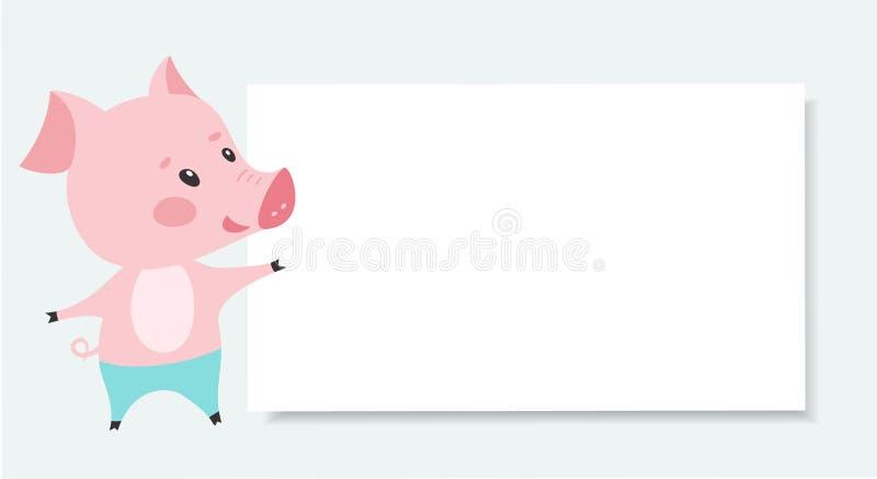 Cerdo rosado lindo con el tablero en blanco Vector libre illustration