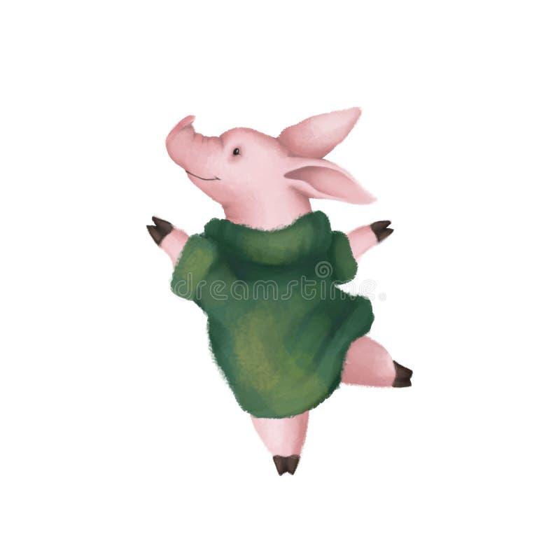 Cerdo rosado lindo en un suéter verde caliente Aislado en el fondo blanco Símbolo 2019 ilustración del vector