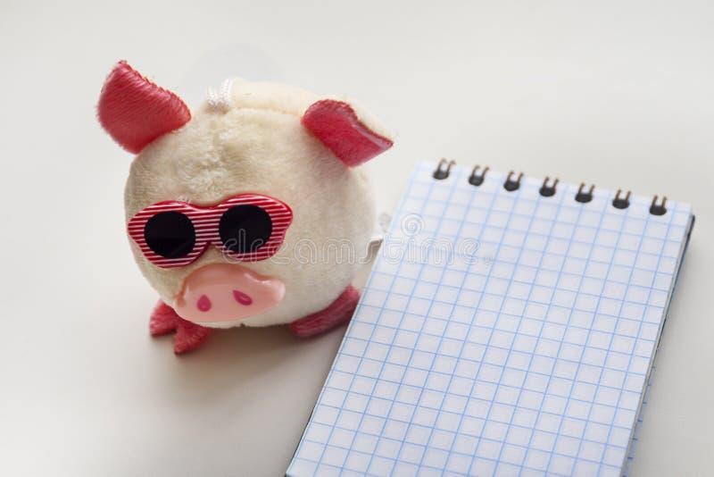 Cerdo rosado y pequeña libreta espiral imagen de archivo libre de regalías