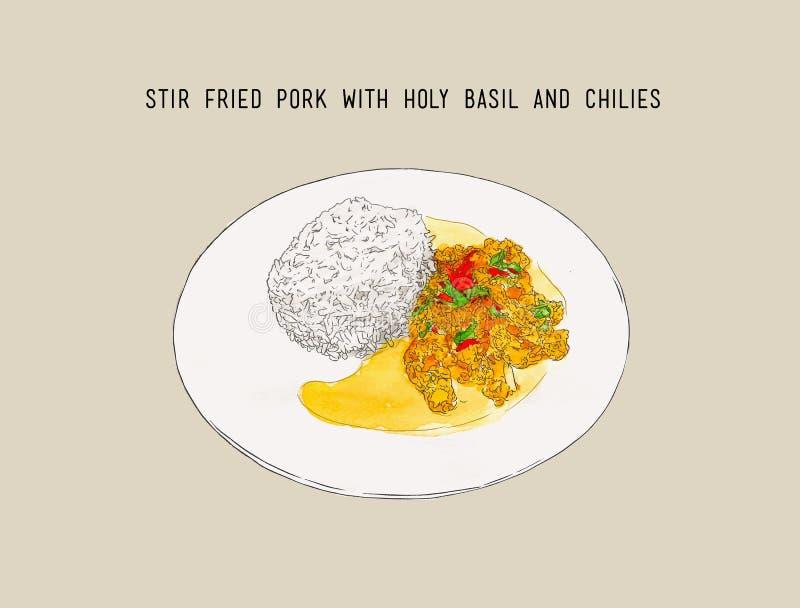 Cerdo sofrito y albahaca santa, comida tailandesa, cuesta dibujada mano del agua ilustración del vector