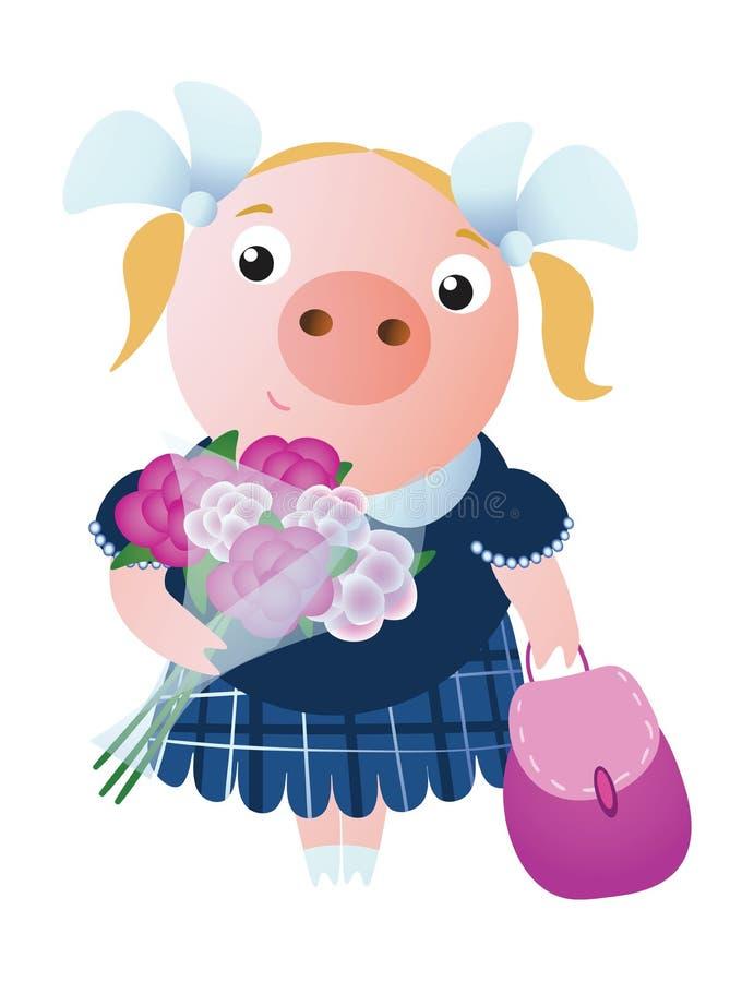 Cerdo sonriente del alumno con una mochila y un ramo ilustración del vector