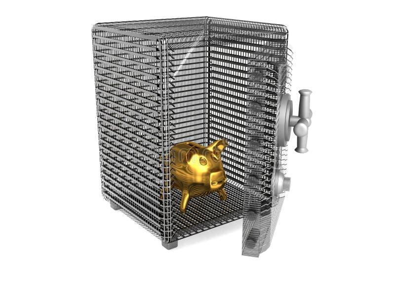 Cerdo un rectángulo de moneda en la caja fuerte libre illustration