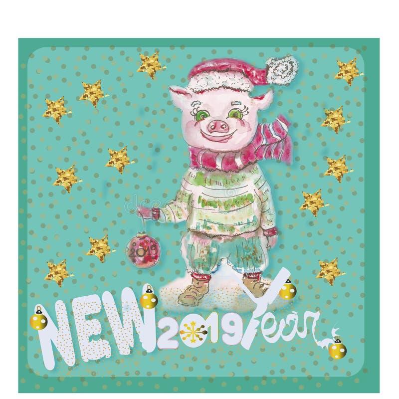 Cerdo y bola lindos divertidos de la Navidad Ejemplo colorido en estilo del bosquejo Nuevo 2019 años chinos del cerdo Festiv foto de archivo