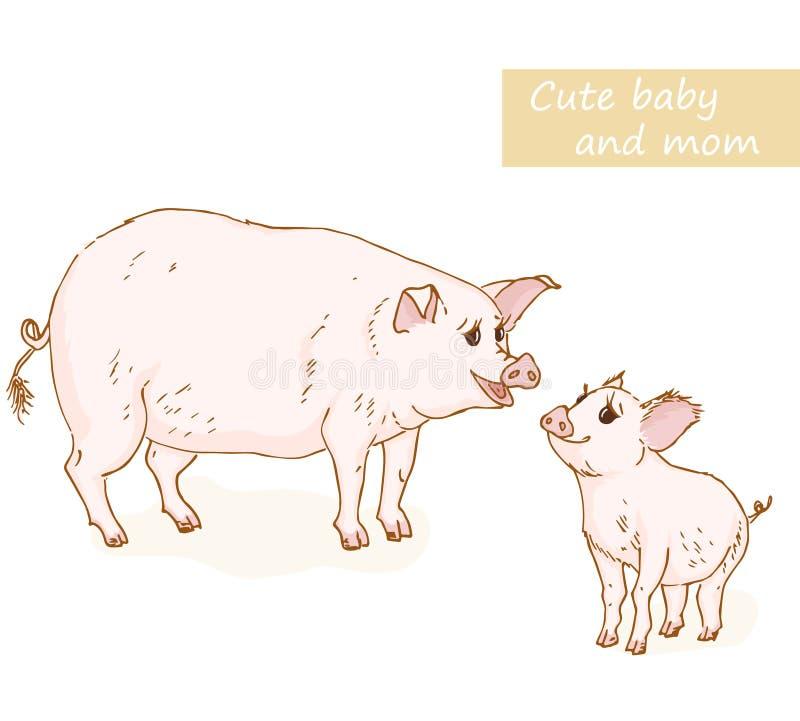 Cerdo y cochinillo stock de ilustración