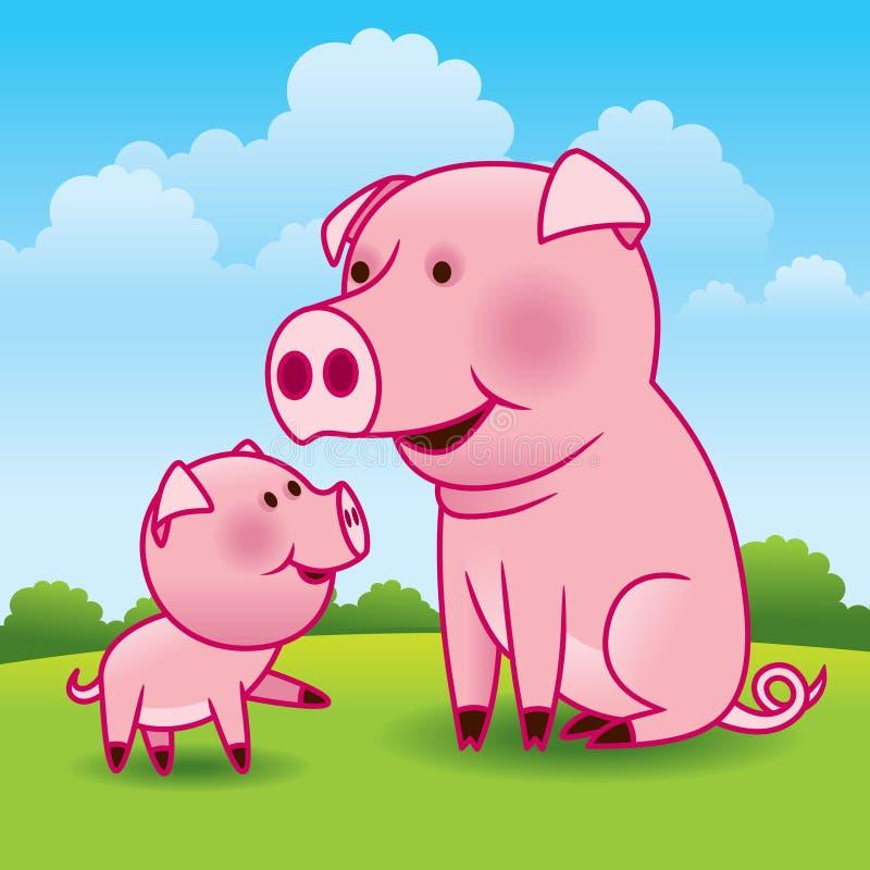 Cerdo y cochinillo de la madre stock de ilustración