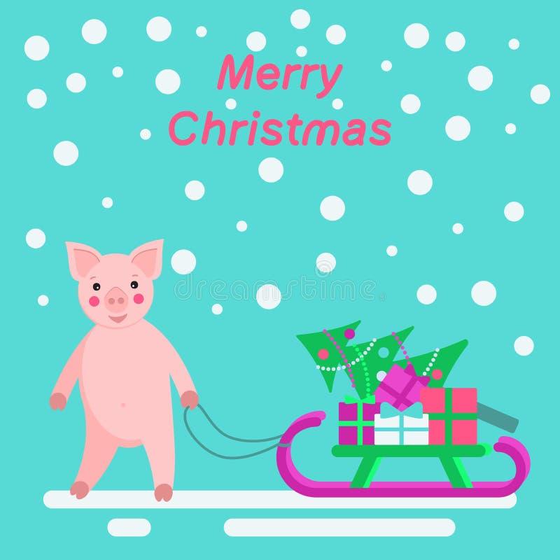 Cerdo y trineo con los regalos y el árbol de navidad ilustración del vector