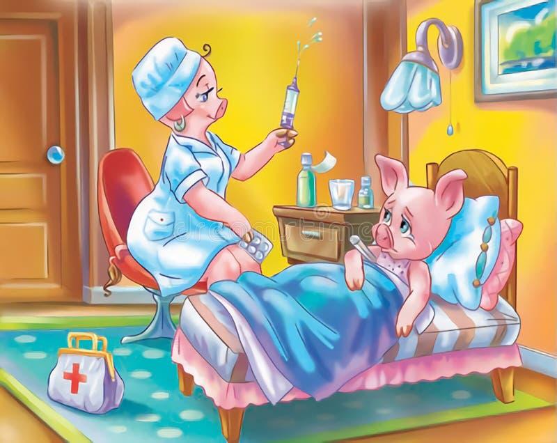 Cerdos del anthro de la historieta en el cuarto: doctor y niño enfermo ilustración del vector